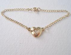 Vintage 1992 Traditional Cottage Chic Unsigned Avon Size Small Heartfelt Goldtone Rhinestone Heart Bracelet by ThePaisleyUnicorn on Etsy, $6.50