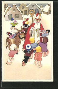 St Nikolaus with Seinem Esel wird Von Childrenn Bedrängt / Santa Claus, St. Nick, Father Time
