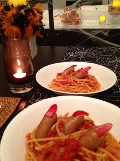 """HAPPY HALLOWEEN!""...another clever culinary creation by Yuri: a spooky dish of witch fingers with spaghetti to stimulate one's palate and imagination. BOO!!!"