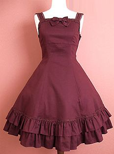 Would love a simple Lolita style jumper skirt that's burgundy or dark red. Cream colored accents would also be really cute!