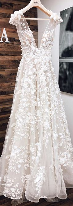 Stunning new # BERTA creation from the Athens Bridal Collection . , Stunning new # BERTA creation from the Athens Bridal Collection . Floral Wedding Gown, Dream Wedding Dresses, Boho Wedding, Wedding Gowns, Floral Gown, Wedding Rings, Wedding Shoes, Wedding Makeup, Detailed Wedding Dresses