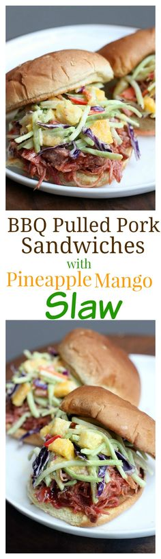 Slow Cooker BBQ Pulled Pork Sandwiches with Pineapple Mango Slaw on TastesBetterFromScratch.com