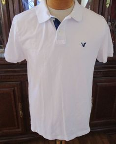 SOLD!! Mens American Eagle Polo Casual Shirt Solid White Blue Trim Large 2013 #AmericanEagleOutfitters #PoloRugby