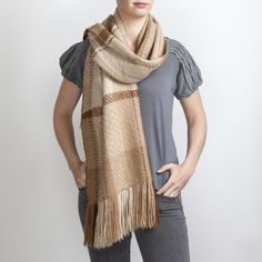 Hand Woven Mid Fawn Tones Alpaca Scarf. Hand woven with 3 complex 24 shaft weave structures Araminta combined different tones of the fawn fleece.
