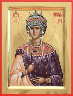 Saint Theodora Byzantine Empress (wife of Theophilos) Greek Orthodox Russian Mount Athos Byzantine Christian Catholic Icon Religious Images, Religious Icons, Religious Art, Byzantine Icons, Byzantine Art, Russian Icons, Orthodox Christianity, Catholic Saints, Orthodox Icons
