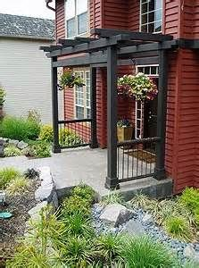 Arbor/Pergola for the front door. Will really dress that boring front porch up with dimension and curb appeal. Front Door Landscaping, Landscaping Ideas, Door Arbor, Outdoor Spaces, Outdoor Living, Outdoor Toys, Decks And Porches, Outdoor Projects, House Front