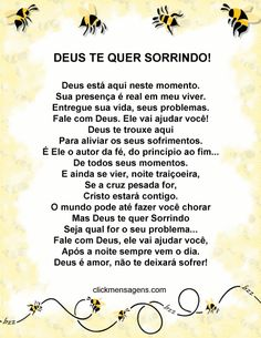 Deus Te Quer Sorrindo Feng Shui, Poster, Promises Of God, Spiritual Cleansing, Daughter Of God, Grief, Authors, Inspirational Quotes, Life