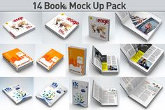 14 Book Pack Mock Up by akropol  on Creative Market