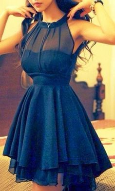 Black Neck Hold Chiffon Party Dress. I would totally wear this as my dress if it was long.