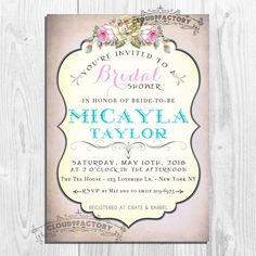 Printable Bridal Shower Invitation - Digital Diy invite - Shabby Chic Garden Party - Fancy Rustic Vintage Style -  no.153 #gardenPartyInvitation bridal tea party bridal shower printable invitation digital invitation diy invitation whimsical chalk board calligraphy typopgraphy baby shower turquoise lilac lavender 17.00 USD Cloud9Factory