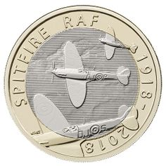 This celebrates the centenary of the RAF which was formed in 1918 during WWI. It features the world famous Supermarine Spitfire. Raf Centenary, English Coins, Australian Money, Money Notes, The Spitfires, Coin Design, Uncirculated Coins, Challenge Coins, Rare Coins