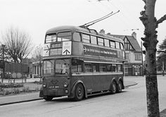 London Transport Trolleybus 1394 at the Red Lion Terminus, Tolworth, 4/5/62.