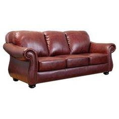 """Perfect as an accent for the living room seating group or your reading nook decor, this handsome leather sofa showcases nailhead trim and rich burgundy upholstery.   Product: SofaConstruction Material: Kiln-dried hardwood, high-density foam and semi-aniline top grain leatherColor: Two-tone burgundyFeatures:  Nailhead trimHand-stitched details19"""" Seath height 22"""" Seat depthDimensions: 38"""" H x 86"""" W x 39"""" D"""