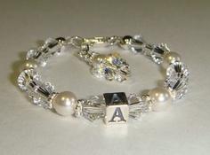 Baby Birthstone Initial Bracelet    www.crystalconnections4u.etsy.com