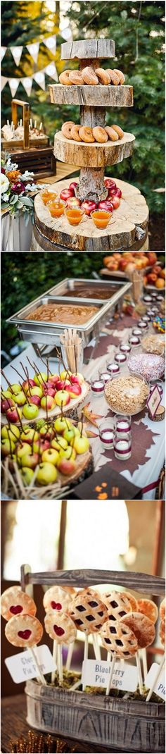 Rustic fall wedding food ideas / http://www.deerpearlflowers.com/fall-wedding-ideas-for-2017/