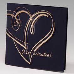 Edle Hochzeitseinladungen in nachtblau und gold. Modernes Motiv ...