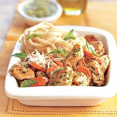 Chicken with Parmesan Noodles Combine carrots, chicken, and pasta for a light weeknight dinner that's ready in less than 30 minutes.
