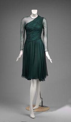 1980s, America - Woman's dress by Arnold Scaasi - Silk plain weave (chiffon); metal; plastic