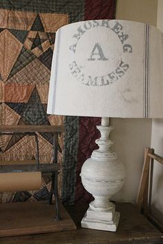 Learn how to cover this lamp shade with grain sack... love the quilt, too!