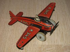 Very RARE Kellerman Airplane Tin Toy Made in Germany Pre-War WWII from 30's