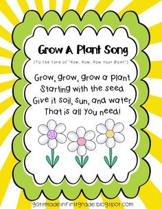"Grow a Plant Song! Just a quick little song to the tune of ""Row Row Row Your Boat"" for our precious primary kiddos to learn during a Plant Unit! Preschool Garden, Preschool Music, Kindergarten Science, Preschool Lessons, Preschool Classroom, Preschool Learning, Preschool Activities, Spring Preschool Songs, Spring Songs For Kids"