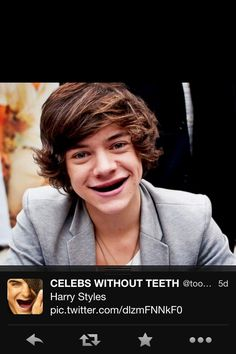 Harry without teeth from celebs without teeth on twitter.... This genuinely scared me