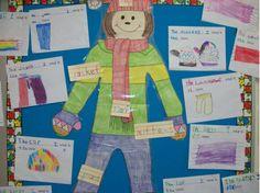 Winter literacy:  The Jacket I Wear in the Snow bulletin board idea!   from:  larremoreteachert...