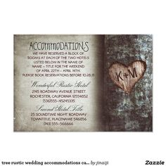 tree rustic wedding accommodations cards