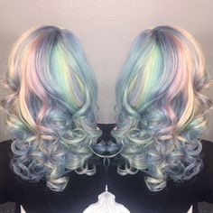 Coloured: Opal hair using pravana vivids! Pastel Rainbow Hair, Pastel Hair, Colorful Hair, Hair Color And Cut, Cool Hair Color, Hair Colors, Opal Hair, Beautiful Hair Color, Dye My Hair