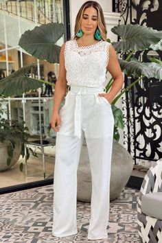 Casual Work Outfits, Work Casual, Casual Looks, White Pants, I Dress, Fashion Dresses, Jumpsuit, Chic, Clothes