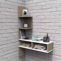 Trendy Home Office Tiny Bookshelves Ideas Small Bedroom Furniture, Space Saving Furniture, Home Furniture, Furniture Ideas, Rustic Bookshelf, Corner Bookshelves, Wall Storage Shelves, Wall Shelves Design, Wall Design