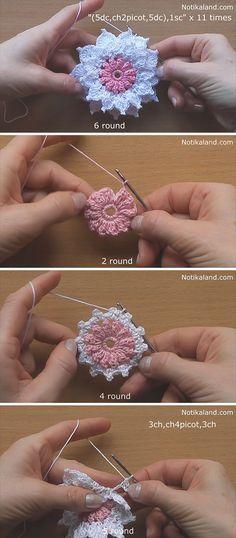 Layer 12-Petals Flower Crochet Pattern