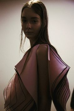 Paper thin chiffon layers backstage at Christopher Kane AW14 LFW. More images here: http://www.dazeddigital.com/fashion/article/18888/1/christopher-kane-aw14
