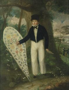 American or English School, 19th century BOY WITH FLOWERED KITE