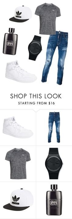 """""""Untitled #85"""" by steyana-1 ❤ liked on Polyvore featuring NIKE, Dsquared2, Under Armour, Swatch, adidas Originals, Gucci, men's fashion and menswear"""