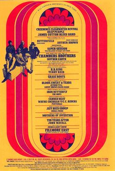 Creedence Clearwater Revival Vintage Concert Postcard from Fillmore East (New York, NY), Dec 1968 Rock Posters, Band Posters, Jeff Beck Group, Arthur Brown, Fillmore East, Psychedelic Rock, Psychedelic Posters, John Mayall, Vintage Concert Posters
