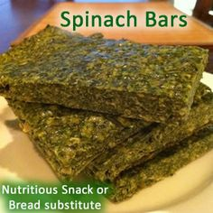 Spinach bars are a healthy snack or bread substitute