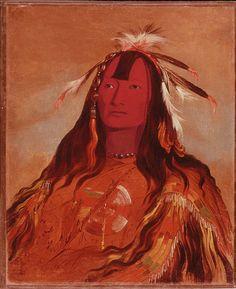 Nez Perce - Rabbit Skin Leggins, portrait by Catlin