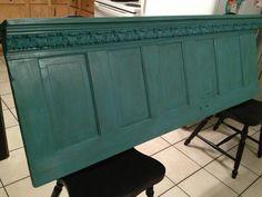 Vintage Door Shelf/Headboard or Coatrack by Refurbished Furniture, Repurposed Furniture, Home Furniture, Headboard With Shelves, Barn Wood Projects, Door Shelves, Old Doors, Diy Home Decor, New Homes