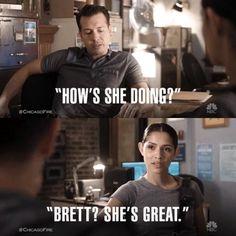 Antonio: How's she doing? Kidd: Brett? She's great. (5x03)