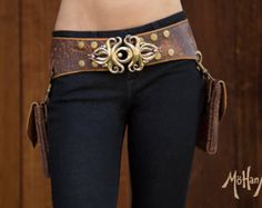 Mohana Leather Pocket Belt Bag - Speckled Brown with Tan and Brass Accents - Burning Man Steampunk Clothing
