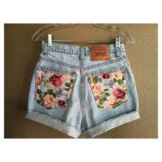 Vintage Floral Pocket High Waisted Levi's Shorts (Small) via Polyvore