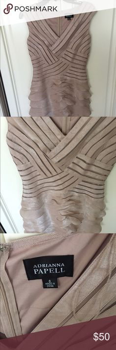 Adrianna Papell nude dress Only worn once, ruffles on front need to be ironed, but other than that, perfect condition! Adrianna Papell Dresses