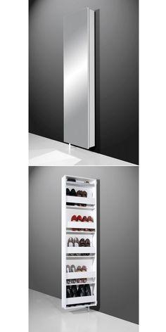 Miroir de plein pied d'un côté - armoire à chaussures de l'autre. Un 2 en 1 par simple pivotement. #thisgacom #chaussure