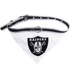 Let your furry football fan show their team spirit with this adorable NFL Licensed Oakland Raiders dog bandana collar. - durable 100% nylon web striped collar - 100% Cotton Bandana with embroidered te