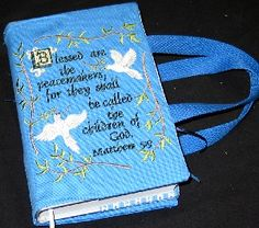Bible cover to sew that has a section on the back for a notebook, pen, etc.