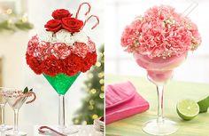 martini glass flower arrangement