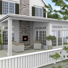 New England Hus - Förslag 7 - Fasad mot sydväst - New England Hus, New England Style, New England Decor, Sunroom Addition, Posters Vintage, House Extensions, Home Additions, Interior Exterior, Outdoor Rooms