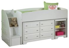 Standard Furniture Reagan Storage Loft Bed with Dresser in White traditional-kids-beds
