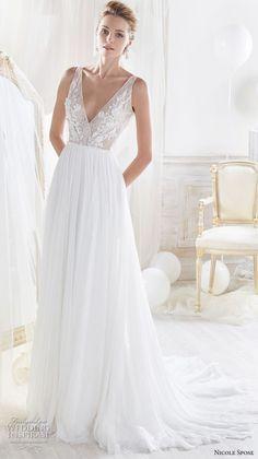 nicole spose 2018 bridal sleeveless deep v neck heavily embelliished bodice romantic soft a line wedding dress open v back chapel train (10) mv